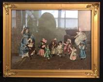 Hand Colored Print Girls with Dolls