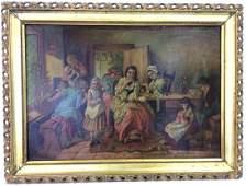 Signed & Framed Oil Painting Of Family Children