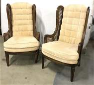 Pair Wooden Upholstered High Back Arm Chairs