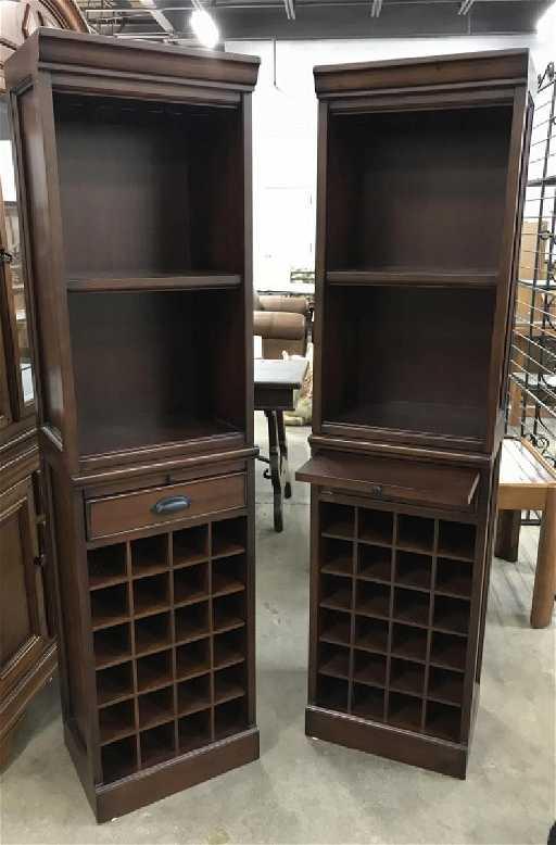 Pair Pottery Barn Modular Wine Cabinet Bar