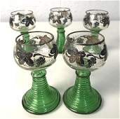 Set 5 Green Glass And Silver Toned Wine Goblets