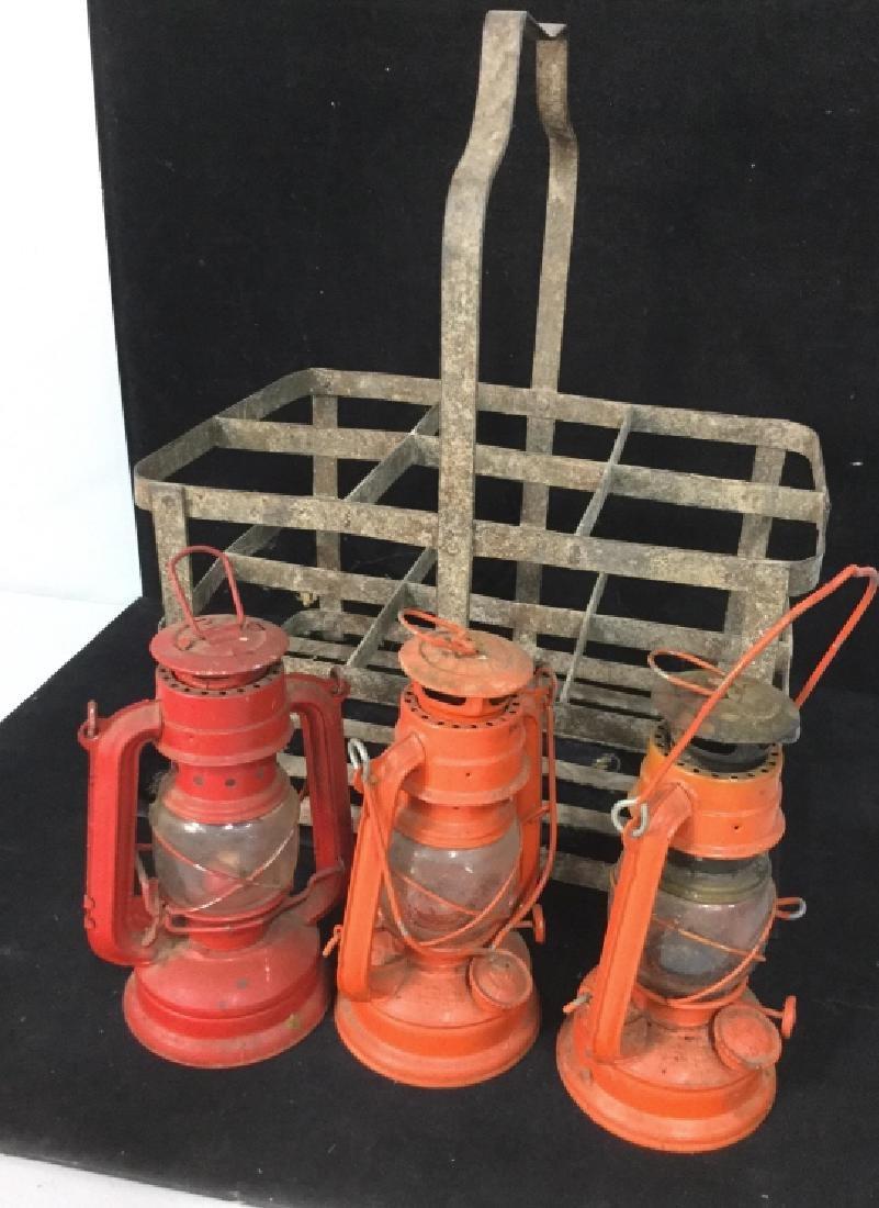 Vintage Metal group of lanterns and milk crate