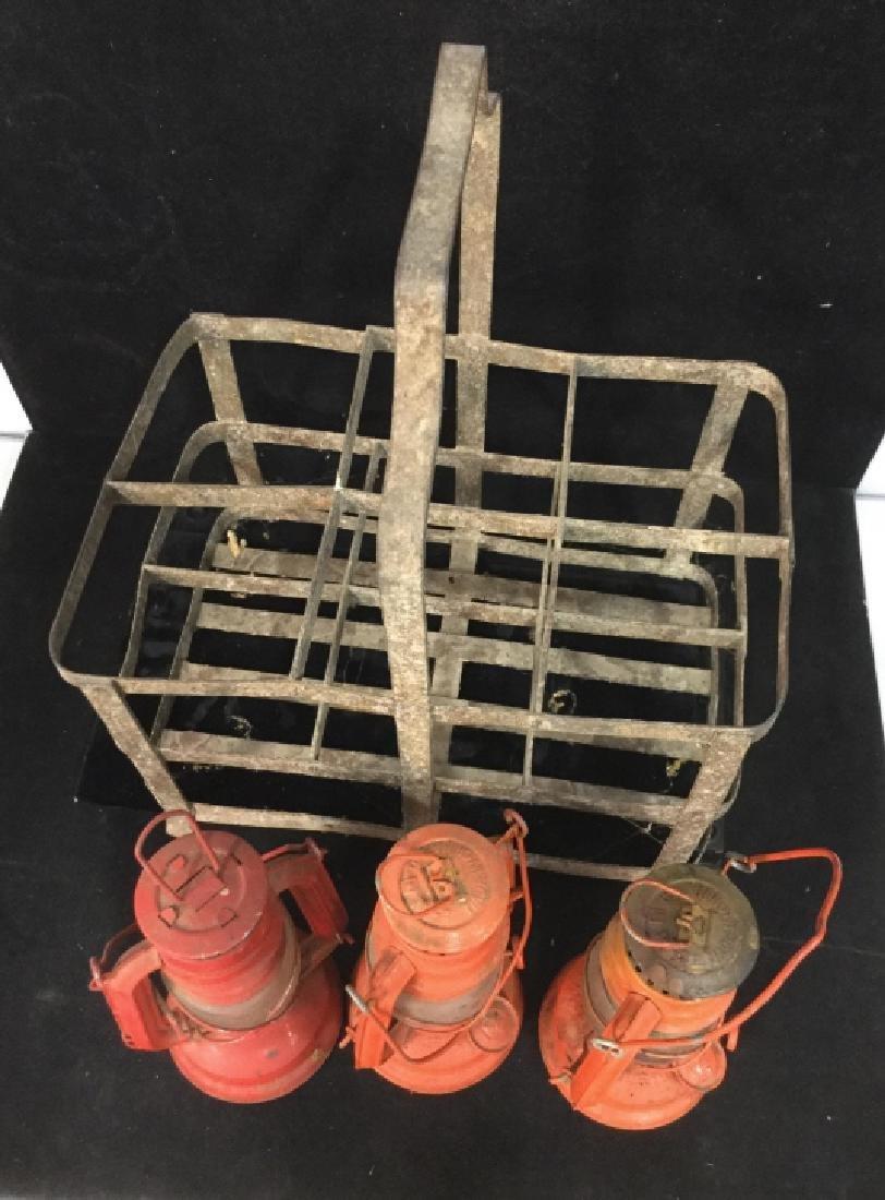 Vintage Metal group of lanterns and milk crate - 2