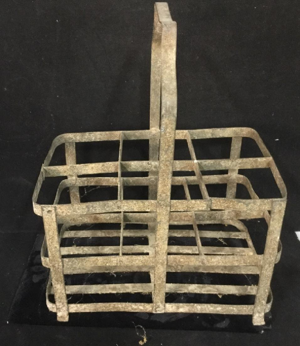 Vintage Metal group of lanterns and milk crate - 4