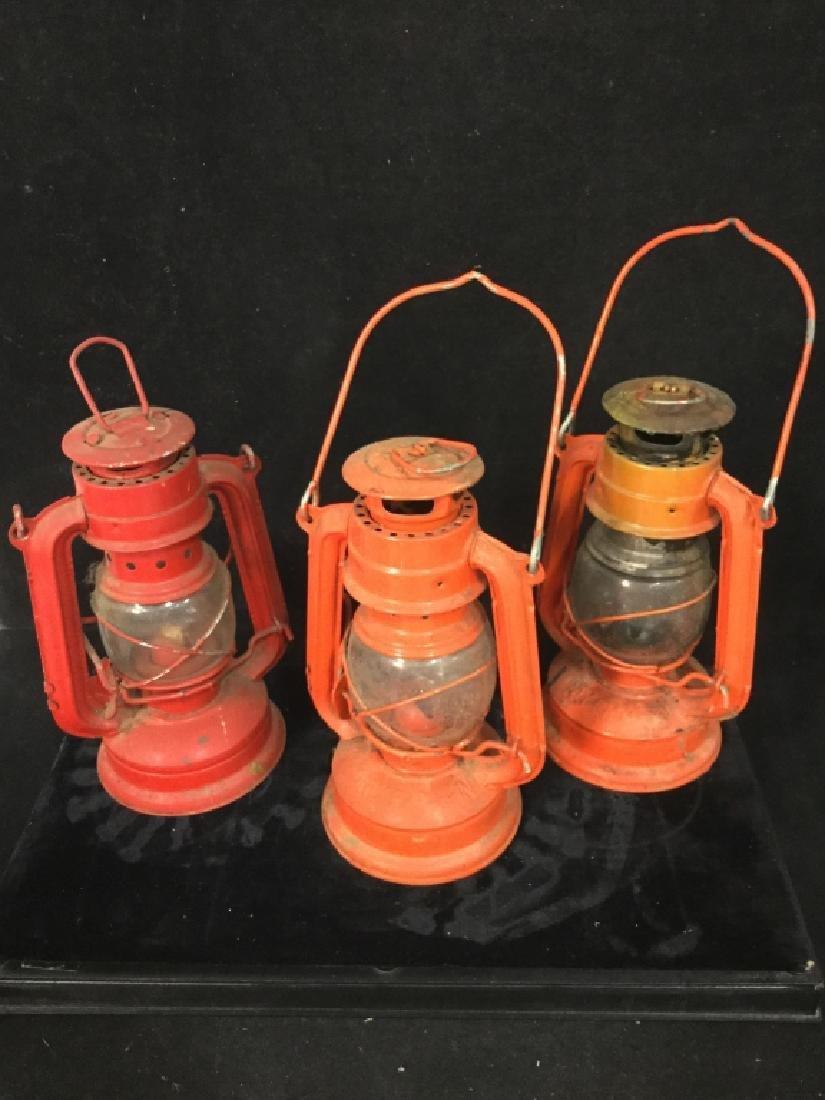 Vintage Metal group of lanterns and milk crate - 5
