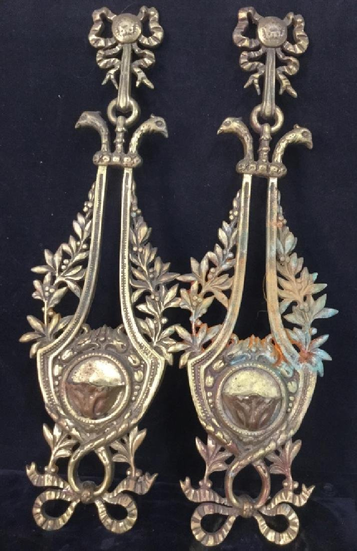 Pair Ornate Brass wall sconces