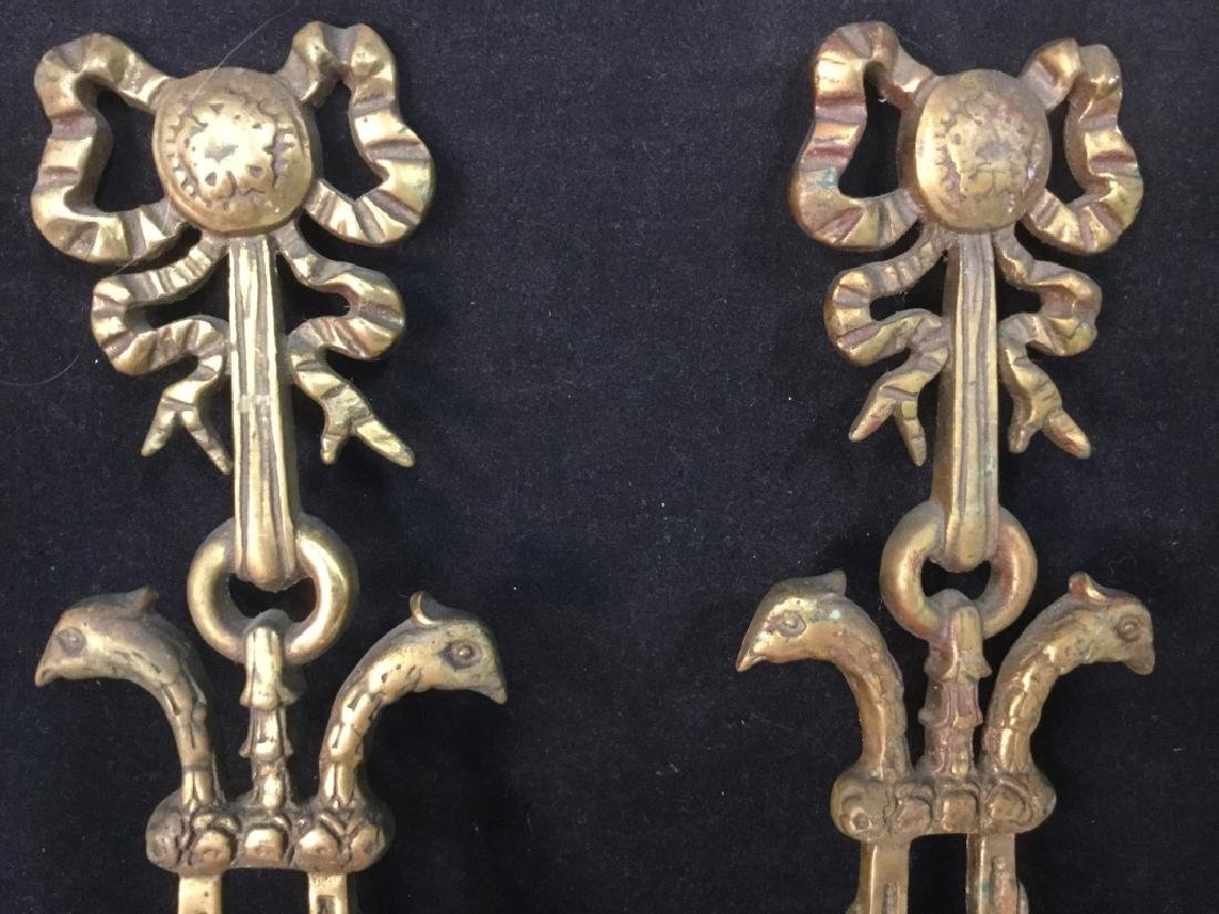 Pair Ornate Brass wall sconces - 2