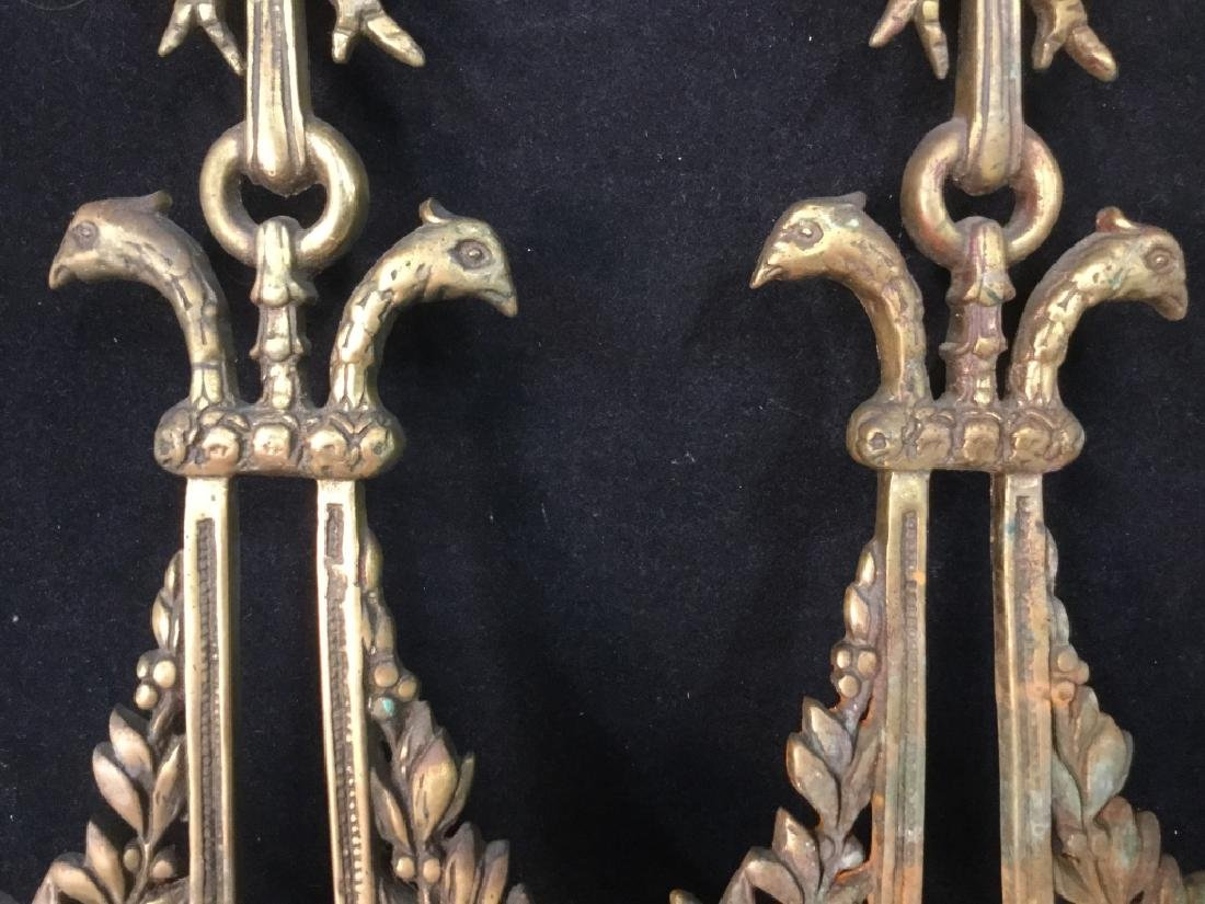 Pair Ornate Brass wall sconces - 3