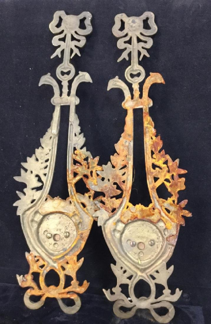 Pair Ornate Brass wall sconces - 7