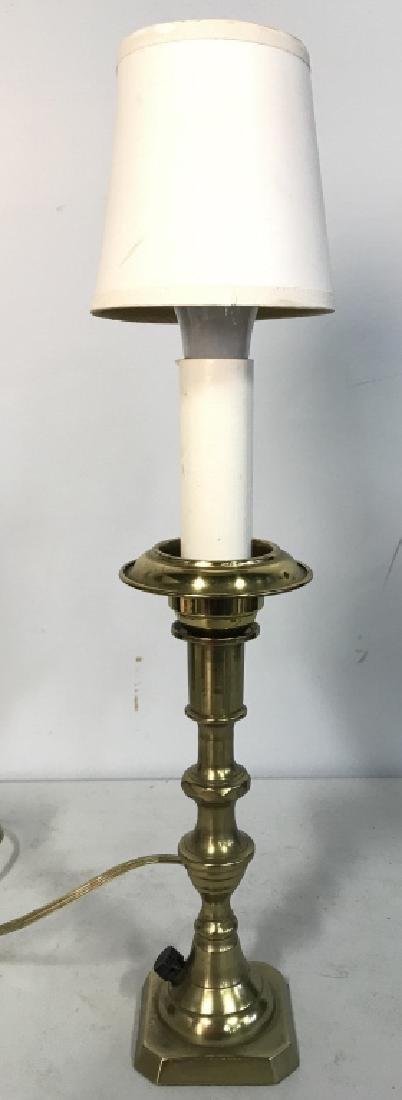 Gold Toned Poss Brass Candlestick Lamp W Shade - 2