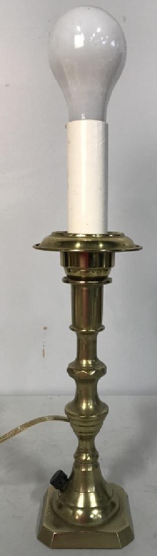 Gold Toned Poss Brass Candlestick Lamp W Shade - 5