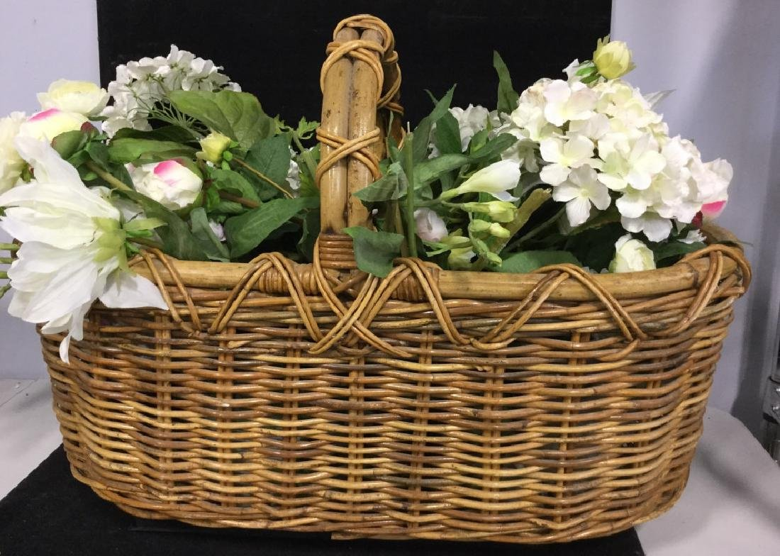 Vintage Wicker Basket with Faux Flowers