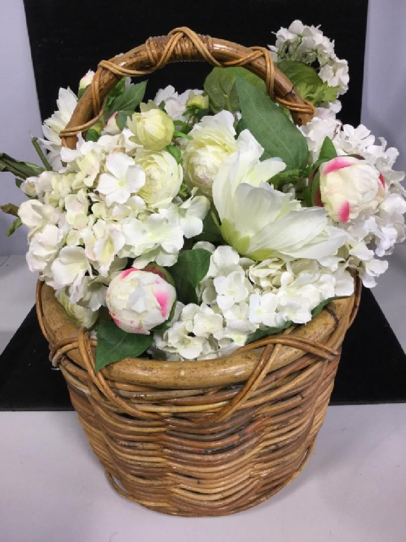 Vintage Wicker Basket with Faux Flowers - 2