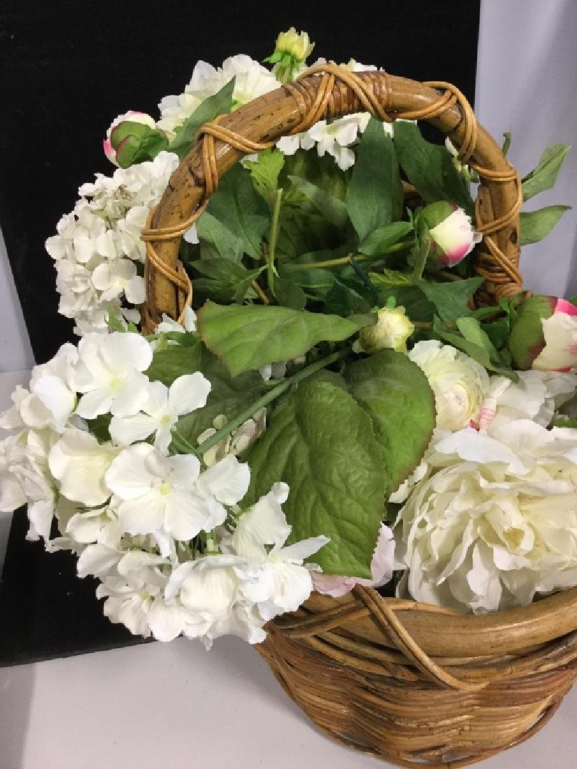Vintage Wicker Basket with Faux Flowers - 4