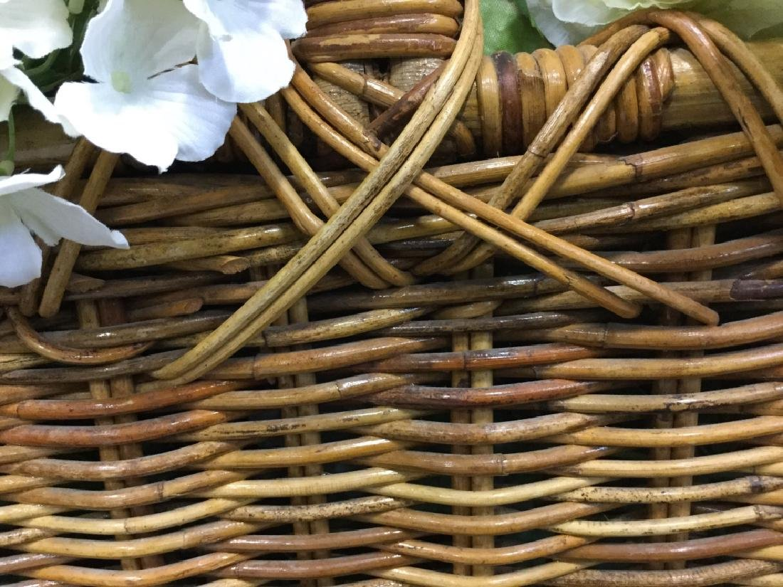 Vintage Wicker Basket with Faux Flowers - 6