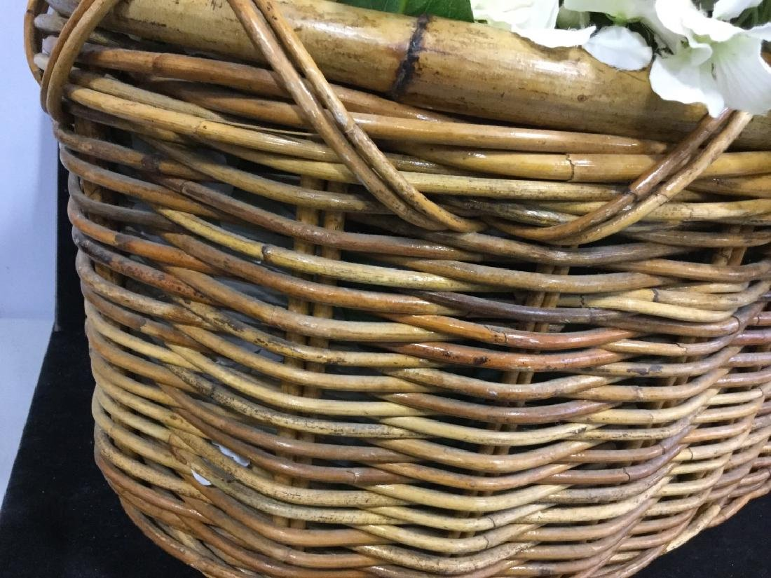 Vintage Wicker Basket with Faux Flowers - 8