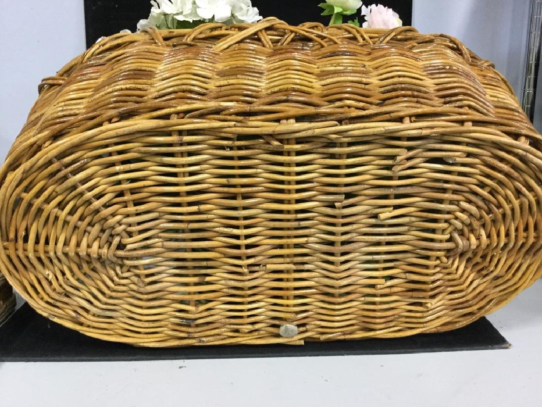 Vintage Wicker Basket with Faux Flowers - 9