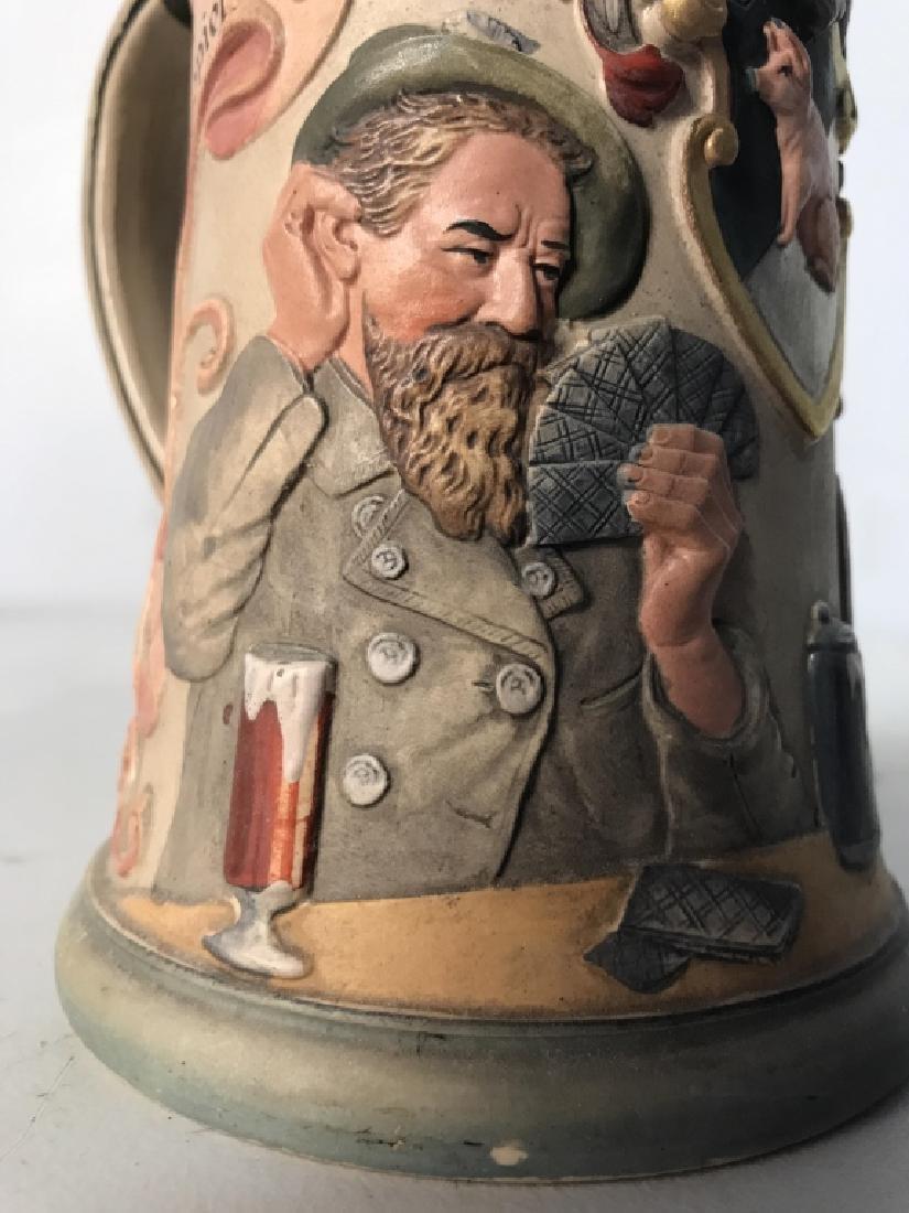 GESETLICH GESCHUTZT German Beer Stein W Lid - 5