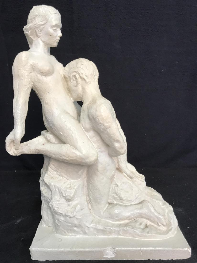 Vintage Female Nude W Male Nude Plaster Sculpture