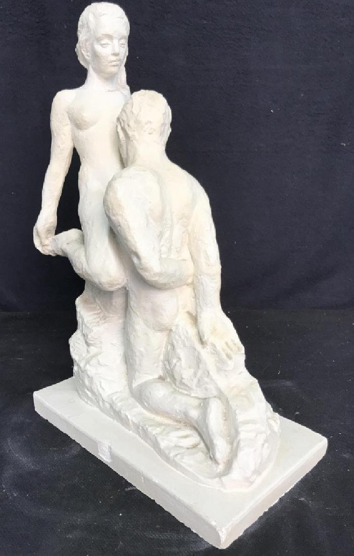 Vintage Female Nude W Male Nude Plaster Sculpture - 4