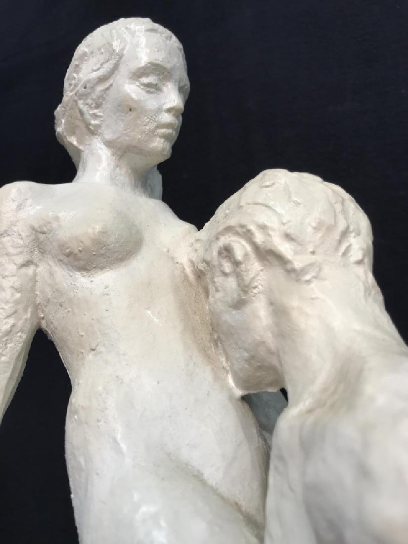 Vintage Female Nude W Male Nude Plaster Sculpture - 5