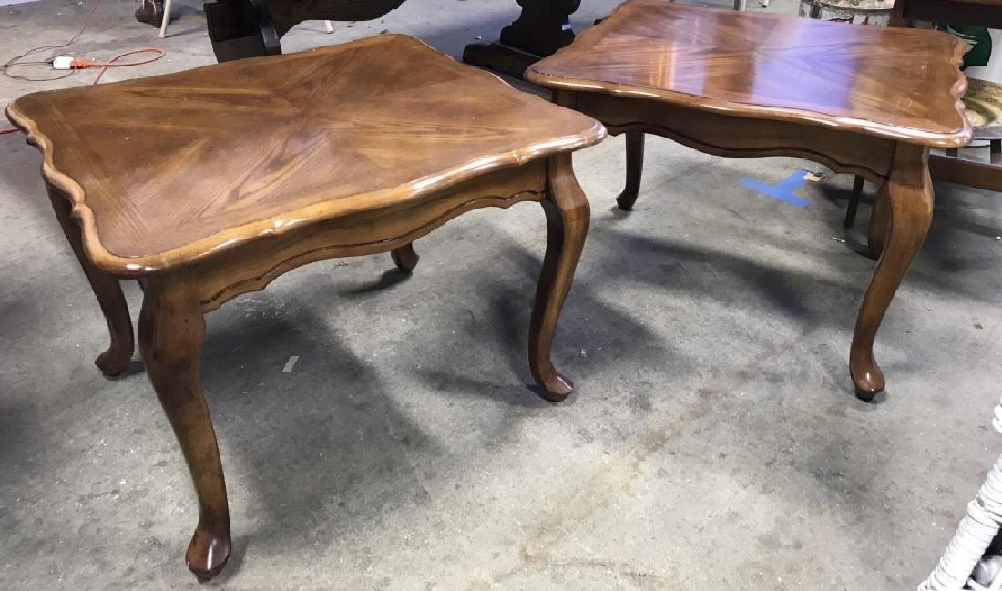 Pair Vintage Side Tables With Cabriole Legs