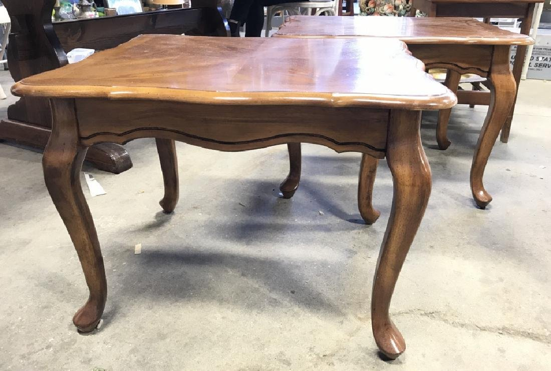 Pair Vintage Side Tables With Cabriole Legs - 2