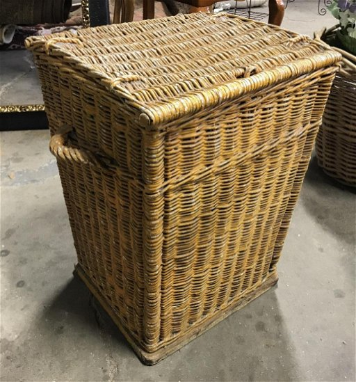 Vintage Painted Wicker Laundry Basket