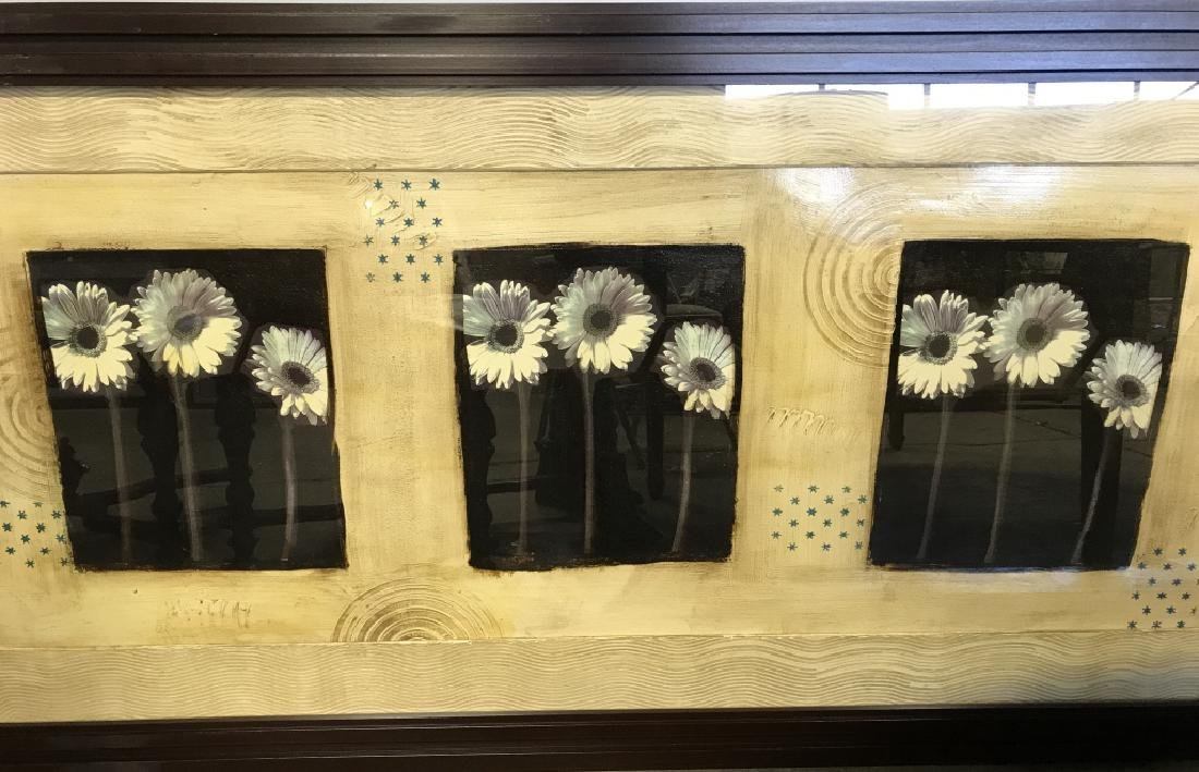 Signed Mixed Media Floral Abstract Framed Print