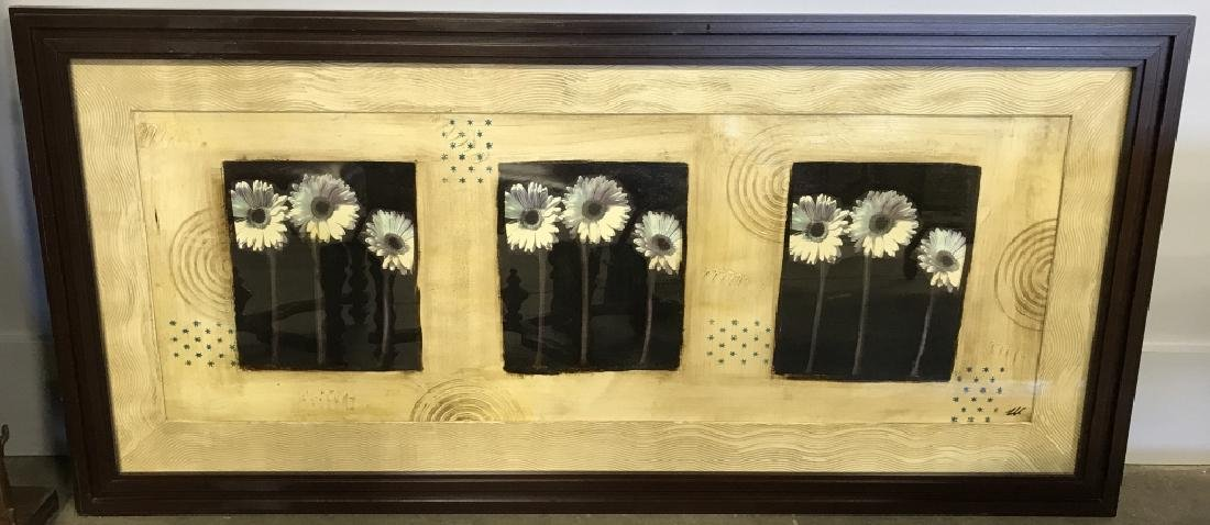 Signed Mixed Media Floral Abstract Framed Print - 2