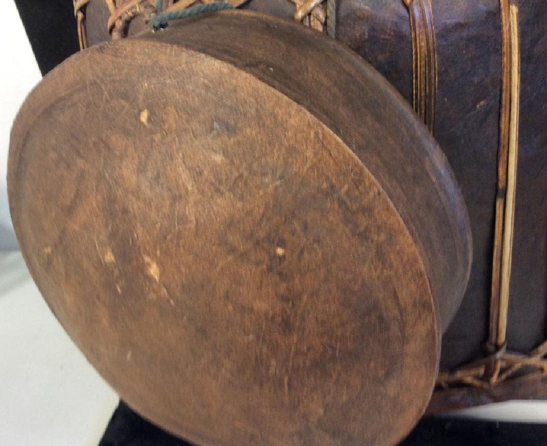 Vintage Asian bamboo covered basket - 10