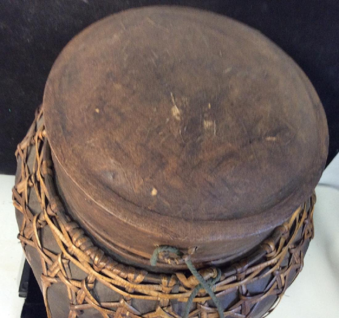 Vintage Asian bamboo covered basket - 3