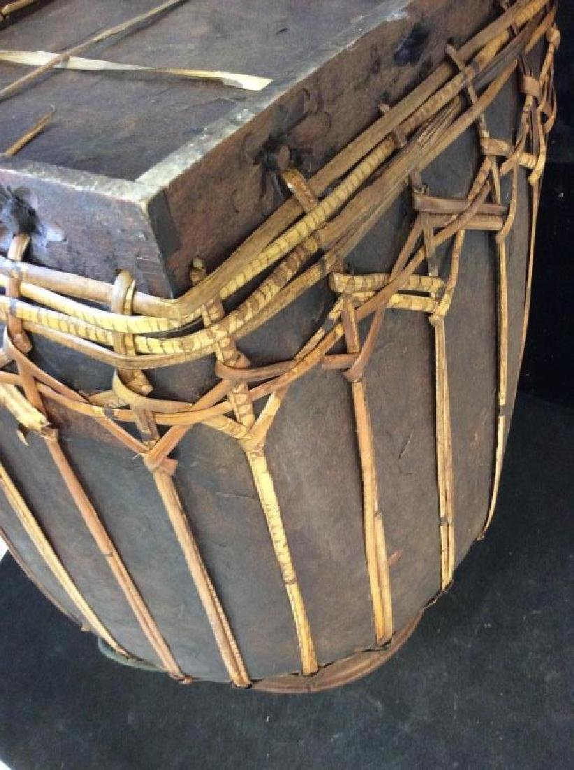 Vintage Asian bamboo covered basket - 4