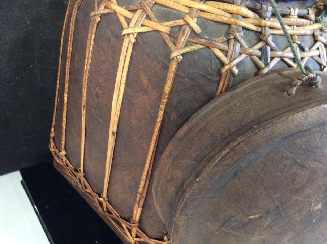 Vintage Asian bamboo covered basket - 6