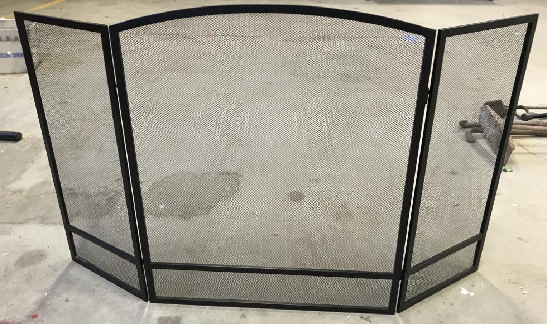 Black Toned Metal Fold Out  Fire Screen