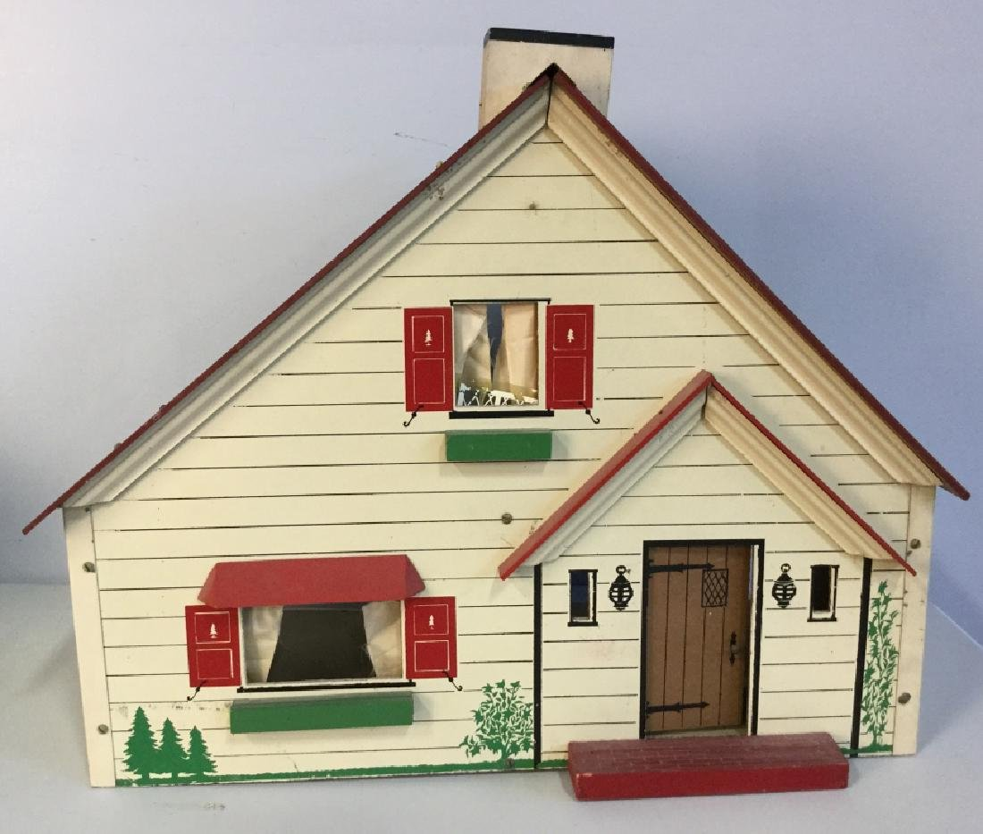 Vintage painted Particle Board Dollhouse