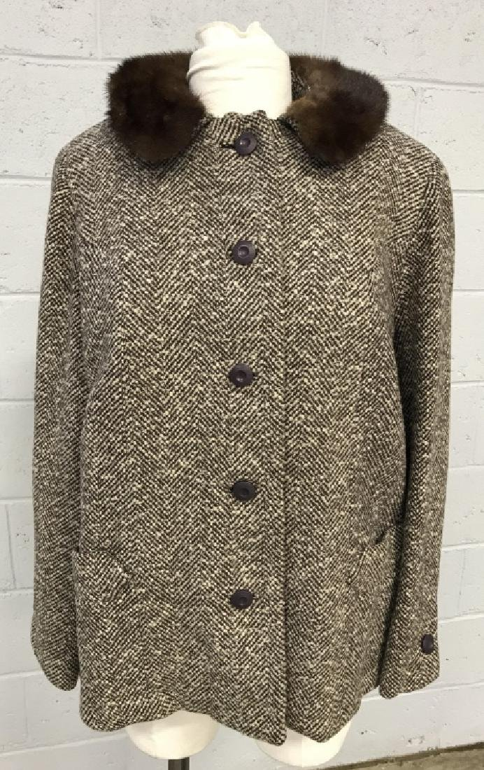 Vintage Russeks Ladies Wool Coat With Fur Collar