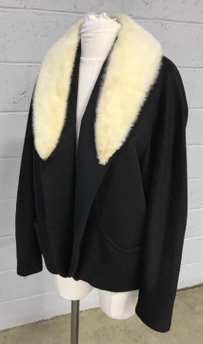 Vintage Russeks Ladies Black Wool Coat W White Fur