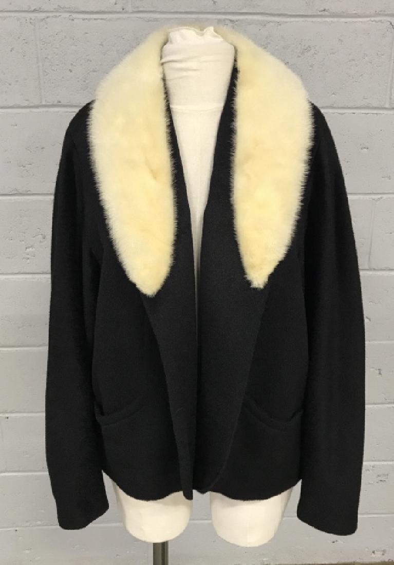 Vintage Russeks Ladies Black Wool Coat W White Fur - 2