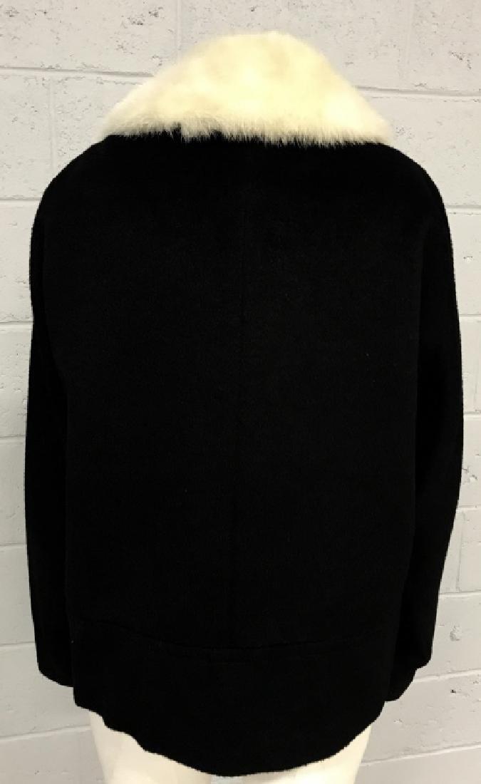 Vintage Russeks Ladies Black Wool Coat W White Fur - 3