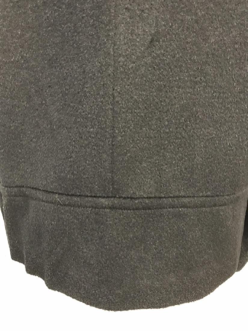 Vintage Russeks Ladies Black Wool Coat W White Fur - 4