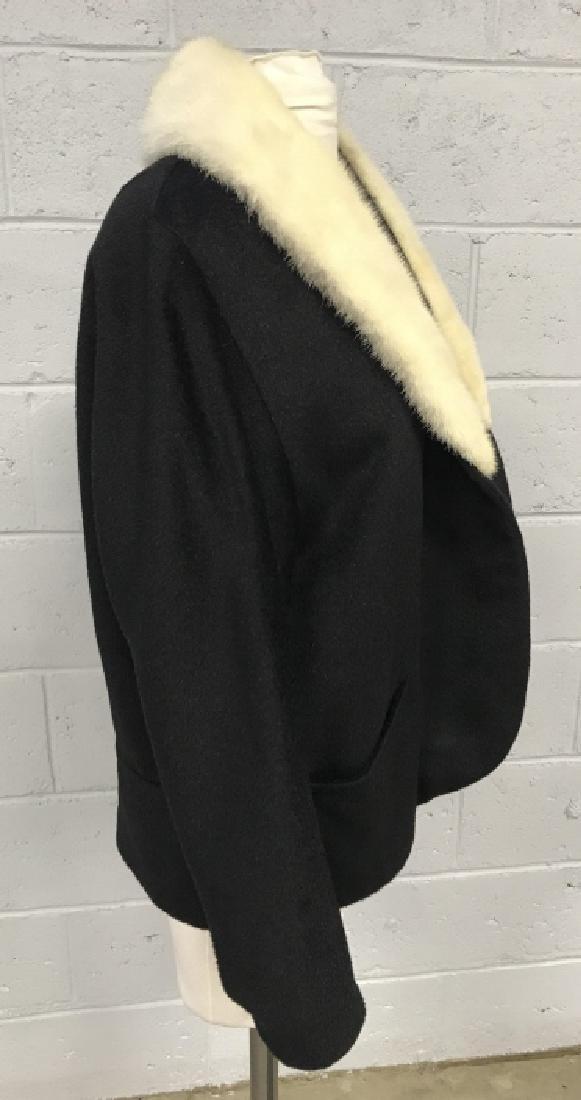 Vintage Russeks Ladies Black Wool Coat W White Fur - 5
