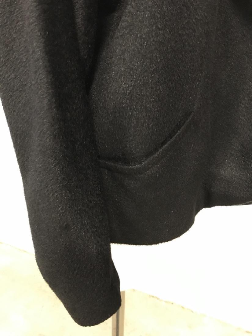 Vintage Russeks Ladies Black Wool Coat W White Fur - 6