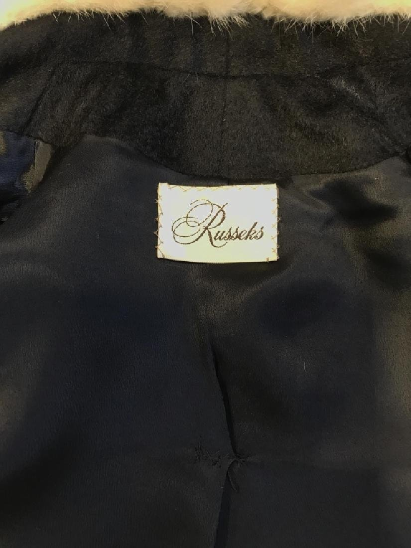Vintage Russeks Ladies Black Wool Coat W White Fur - 8