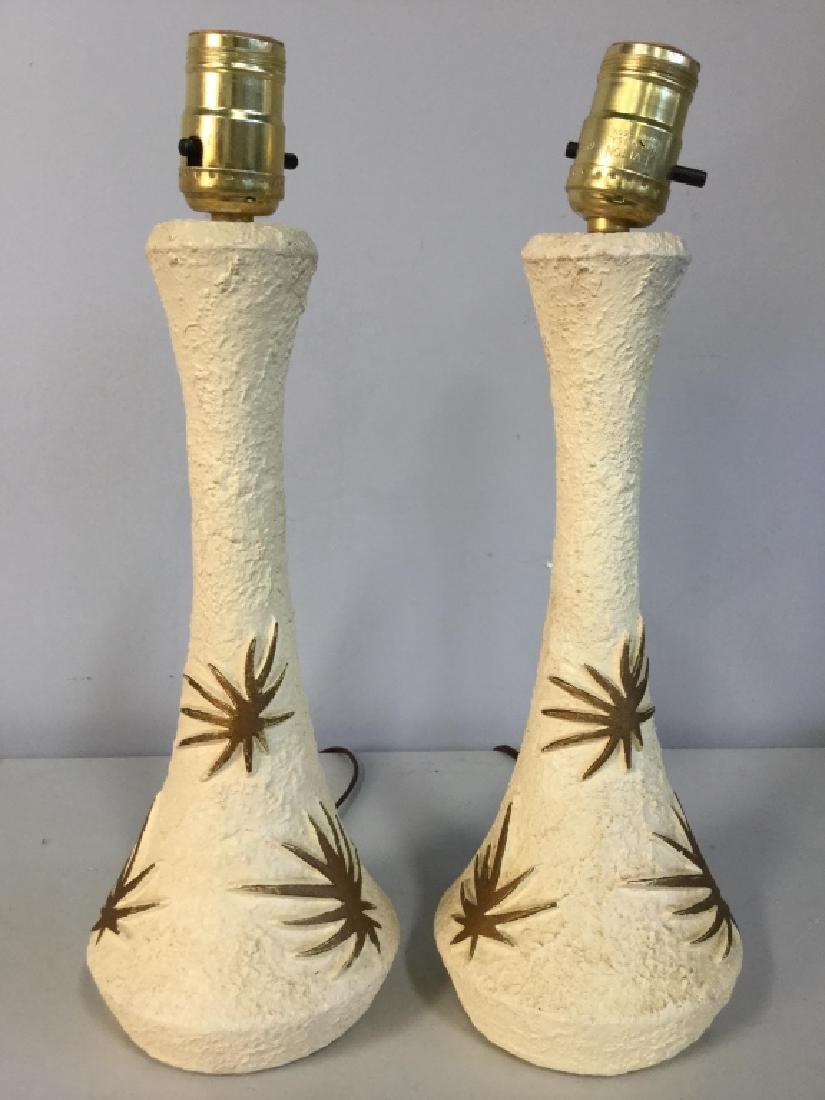 Pair Cream & Gold Toned Composite Lamps
