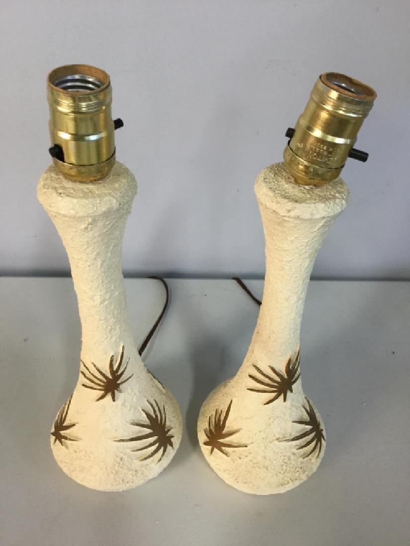 Pair Cream & Gold Toned Composite Lamps - 2