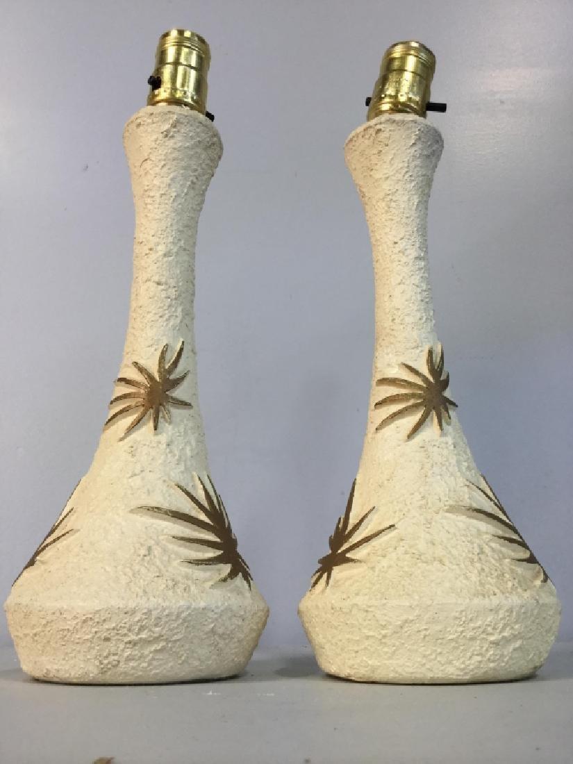 Pair Cream & Gold Toned Composite Lamps - 3