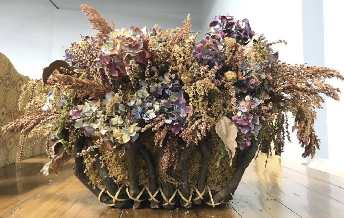 Primitive Style Handled Basket W Dried Flowers