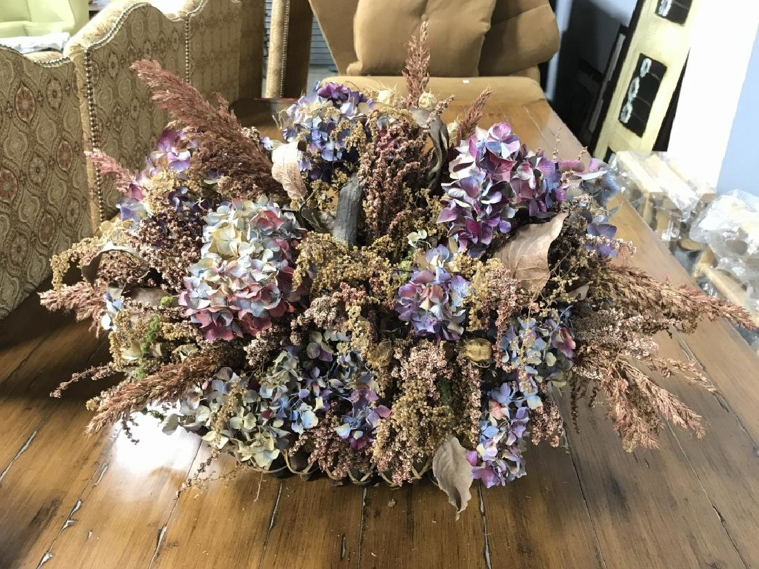 Primitive Style Handled Basket W Dried Flowers - 2