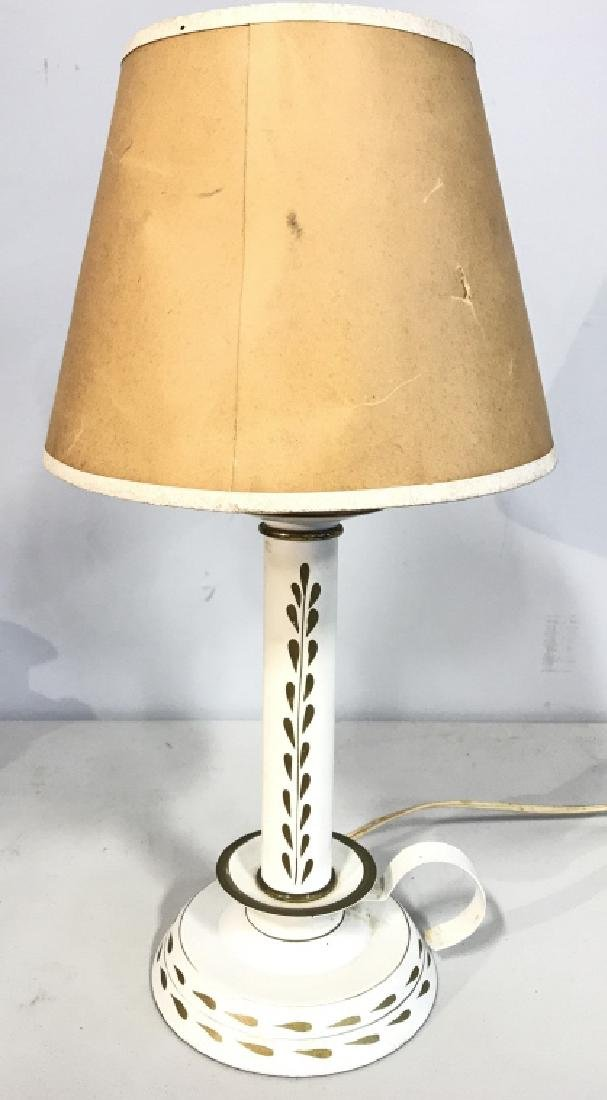 White Toned Metal Candlestick Style Lamp - 5